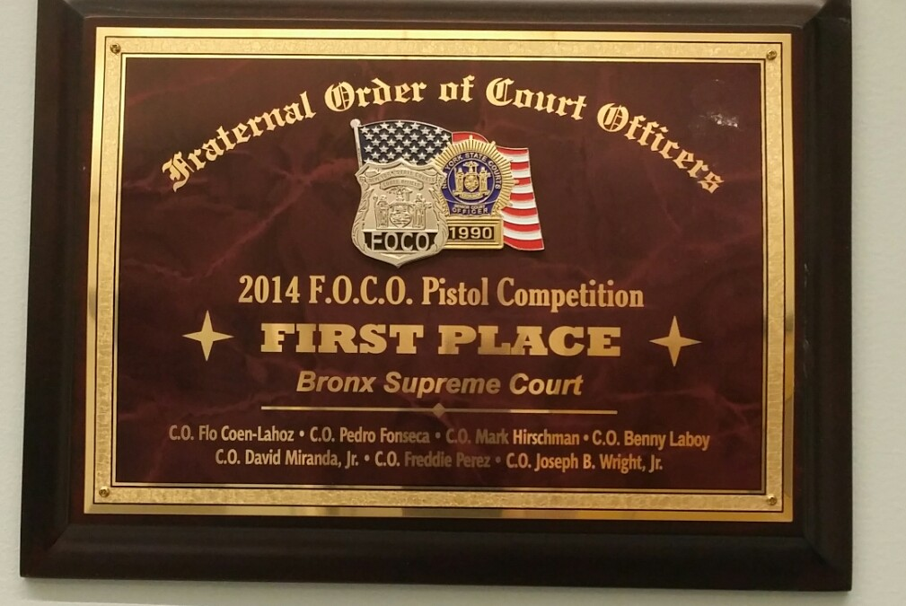 Congratulations for winning First Place at the 2014 Annual Pistol Competition run by FOCO