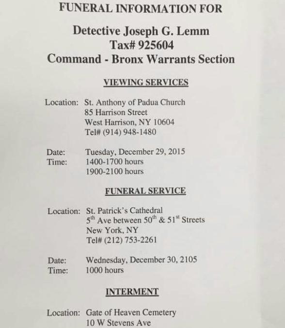 Funeral Information for Detective Joseph Lemm
