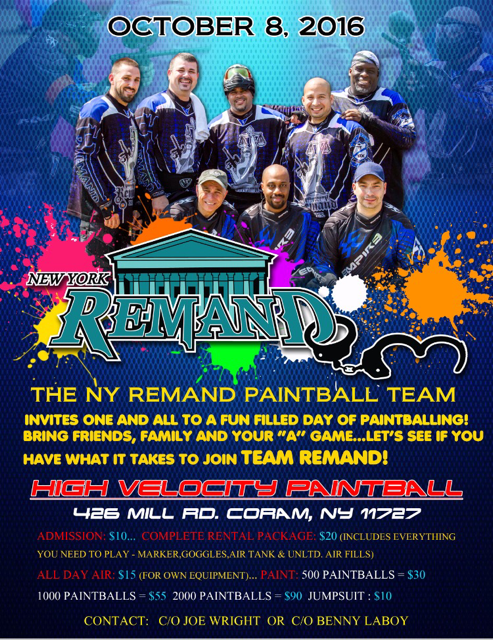 NY Remand Paintball Team Invitation