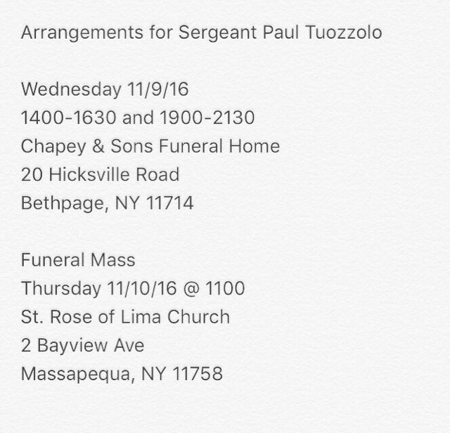 Arrangements for NYPD Sgt. Tuozzolo